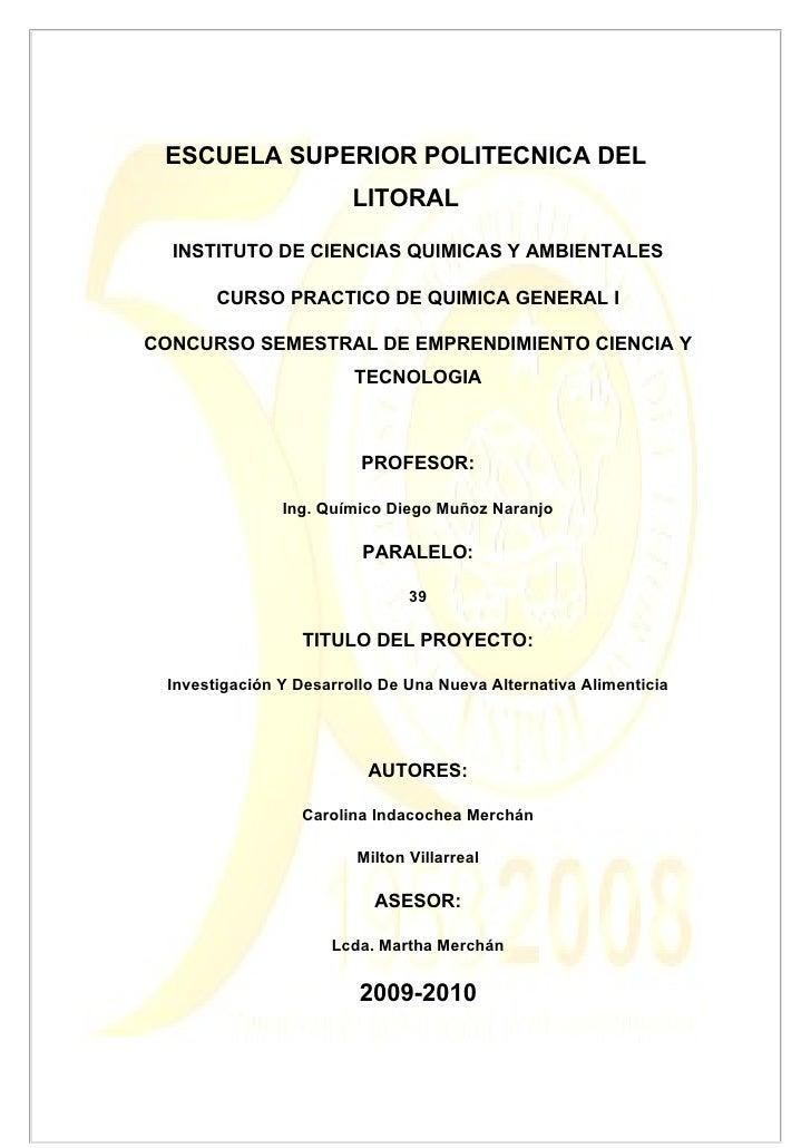 ESCUELA SUPERIOR POLITECNICA DEL                         LITORAL    INSTITUTO DE CIENCIAS QUIMICAS Y AMBIENTALES         C...