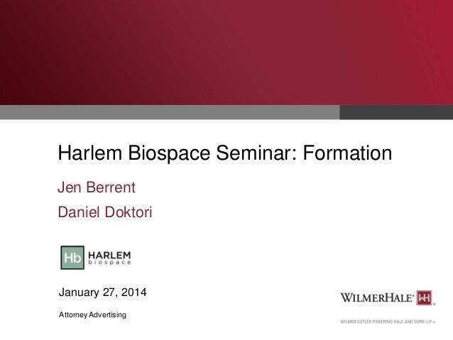 Harlem Biospace Seminar: Formation