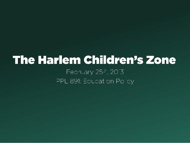 PPL 891: Harlem Children's Zone