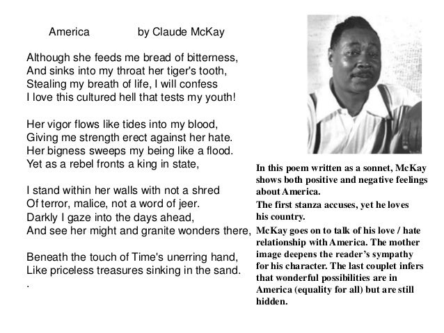 an analysis of the poems america and if we must die by festus claudius mckay Festus claudius mckay was born in sunny ville, clarendon parish, jamaica,   the liberator poems included if we must die, which threatened  which offers  observations and analysis of the african-american community in.