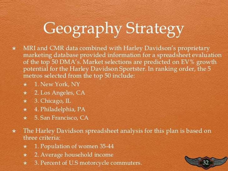 the strategic direction and marketing objectives of harley davidson One ofthe largest marketing strategies for harley-davidson was the  the  factors that harley-davidson should focus on are taken from the.