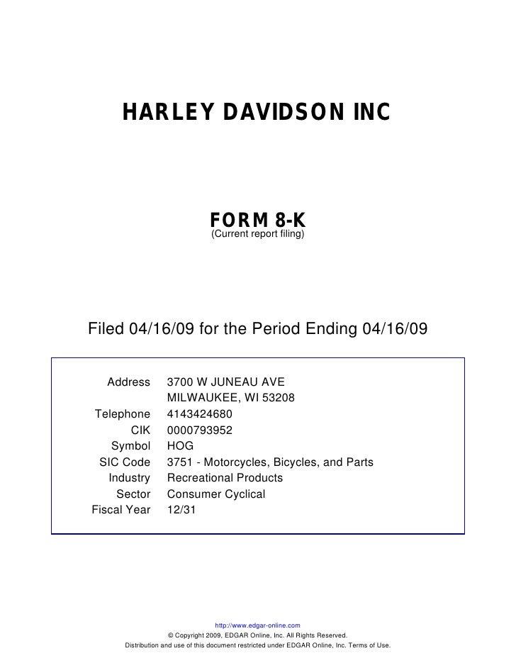 HARLEY DAVIDSON INC                                     FORM 8-K                                  (Current report filing) ...