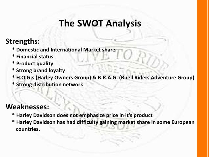 harley davidson swot analysis essay Harley-davidson's marketing strategy overcame 'american icon' harley-davidson's (hd) positioning strategy can best be defined by its mission statement: an analysis of the timing at which the plan is to be implemented.