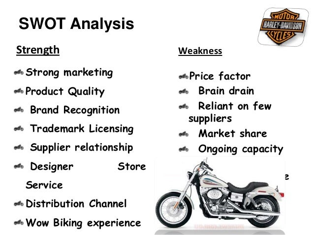 swot on harley Ba490, business policy and strategy february 8, 2010 case analysis #1: swot analysis of harley-davidson, inc (hdi) this case is an analysis of the.