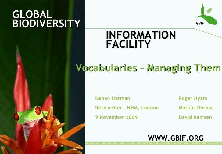 Vocabularies - Managing Them