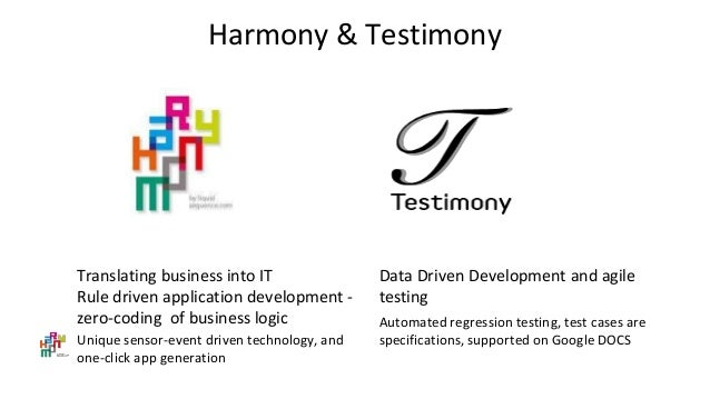 Harmony & Testimony Data Driven Development and agile testing Automated regression testing, test cases are specifications,...