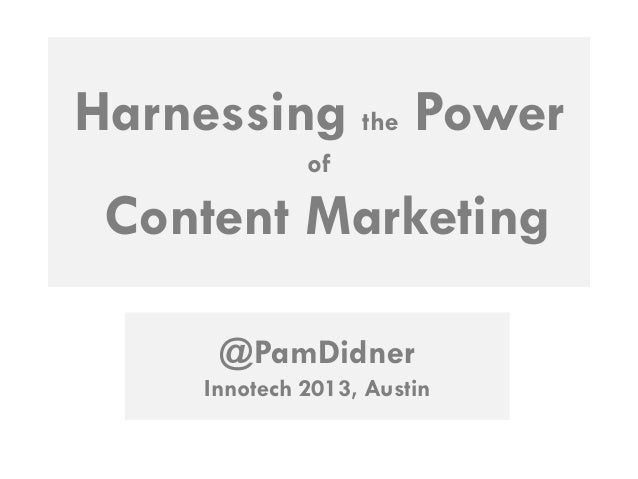 Harnessing the power of content marketing final