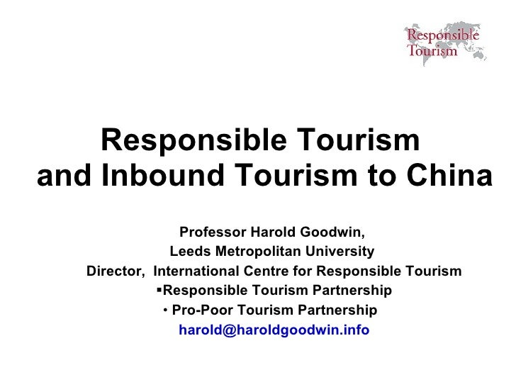 Harold Goodwin - Sustainable Tourism