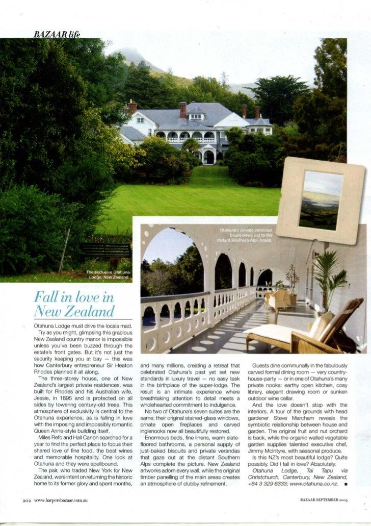 Harpers Bazaar September 2009 - Otahuna Luxury Lodge New Zealand