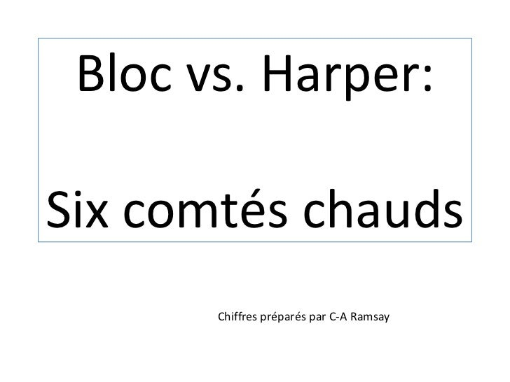 Bloc vs. Harper:Six comtéschauds<br />Chiffrespréparés par C-A Ramsay<br />