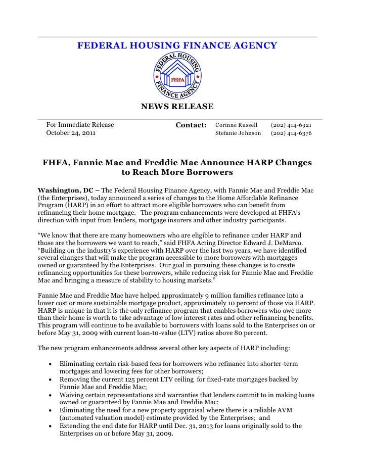 FEDERAL HOUSING FINANCE AGENCY                                   NEWS RELEASE  For Immediate Release                      ...