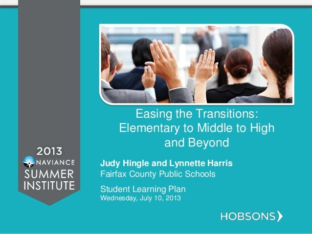 Easing the Transitions: Elementary to Middle to High and Beyond Judy Hingle and Lynnette Harris Fairfax County Public Scho...