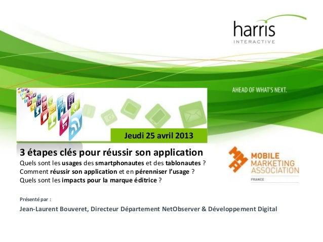 Présenté par :Jean-Laurent Bouveret, Directeur Département NetObserver & Développement DigitalJeudi 25 avril 20133 étapes ...