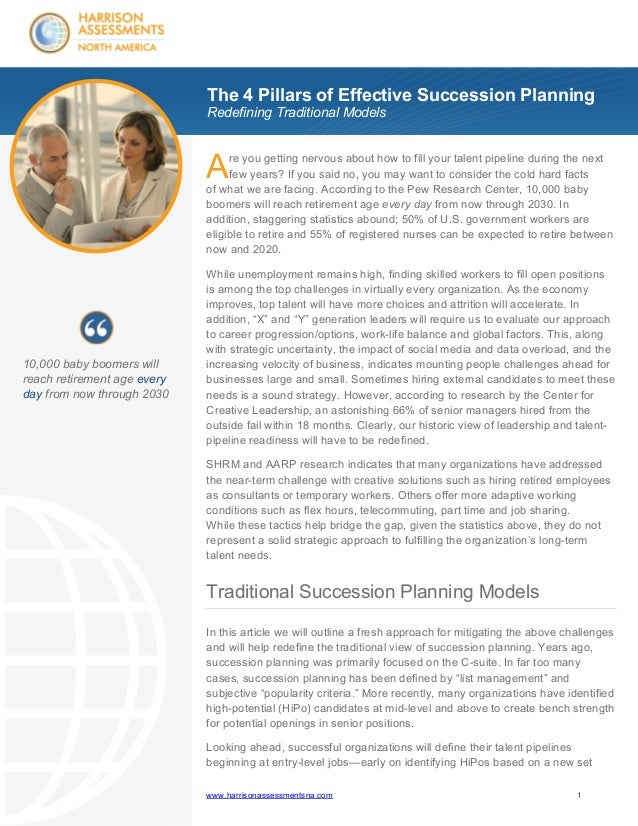 The 4 Pillars of Effective Succession Planning Redefining Traditional Models  A  re you getting nervous about how to fill ...