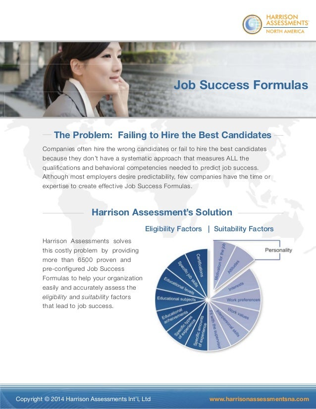 ®  Job Success Formulas  The Problem: Failing to Hire the Best Candidates  Companies often hire the wrong candidates or fa...