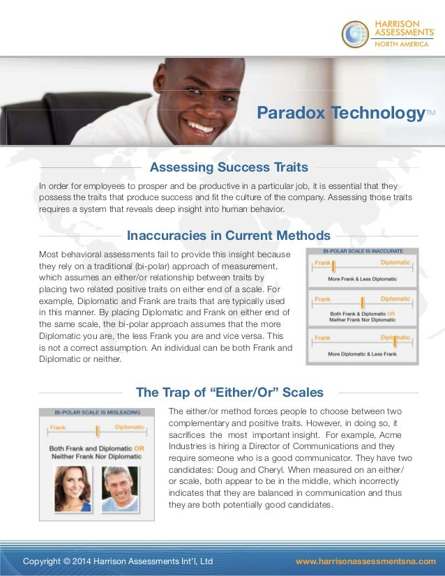 Harrison Assessments Paradox Technology Sales Sheet
