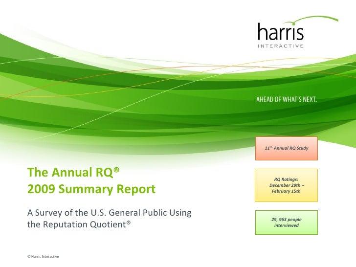 Harris RI Summary Report 2010