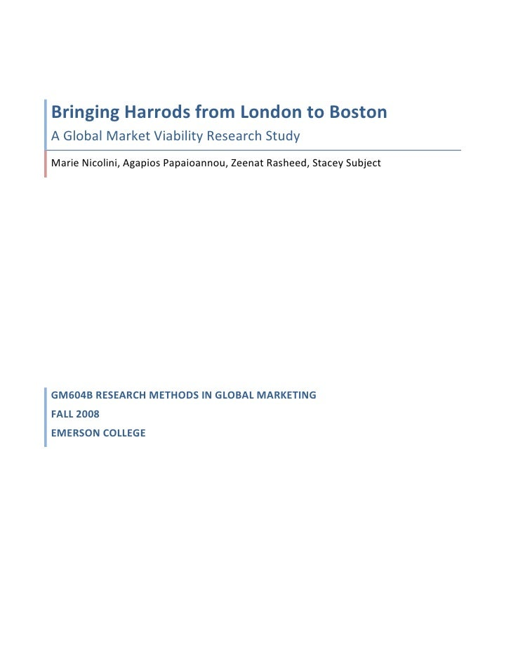 Harrods Research Study