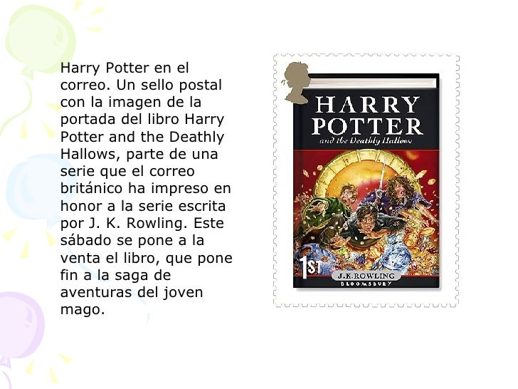Harry Potter en el correo. Un sello postal con la imagen de la portada del libro Harry Potter and the Deathly Hallows, par...