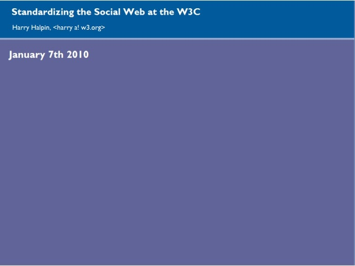 Standardizing the Social Web at the W3C