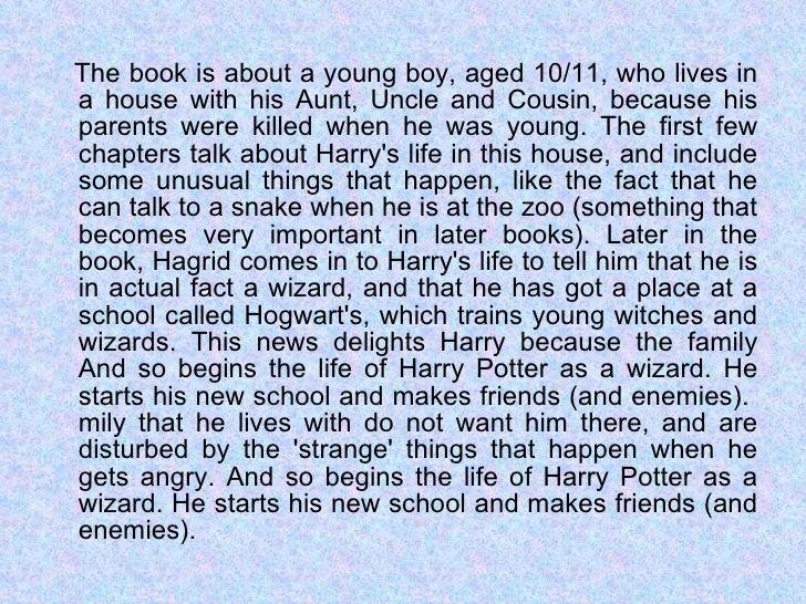 Book report of novel harry potter