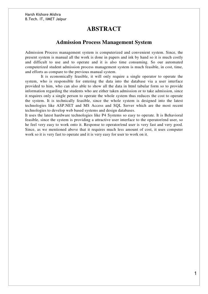 Harsh Kishore MishraB.Tech. IT, IIMET Jaipur                                     ABSTRACT                  Admission Proce...