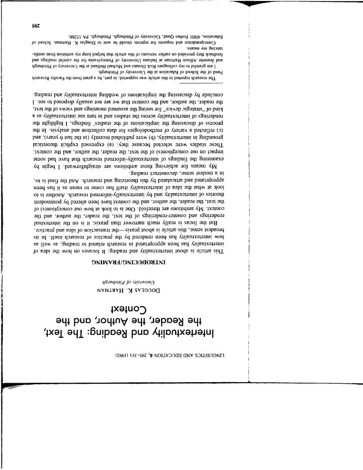 Hartman1992 Intertextuality Reading