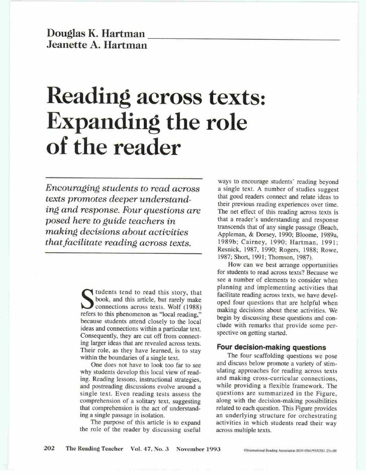 Hartman1993 Reading Across Texts