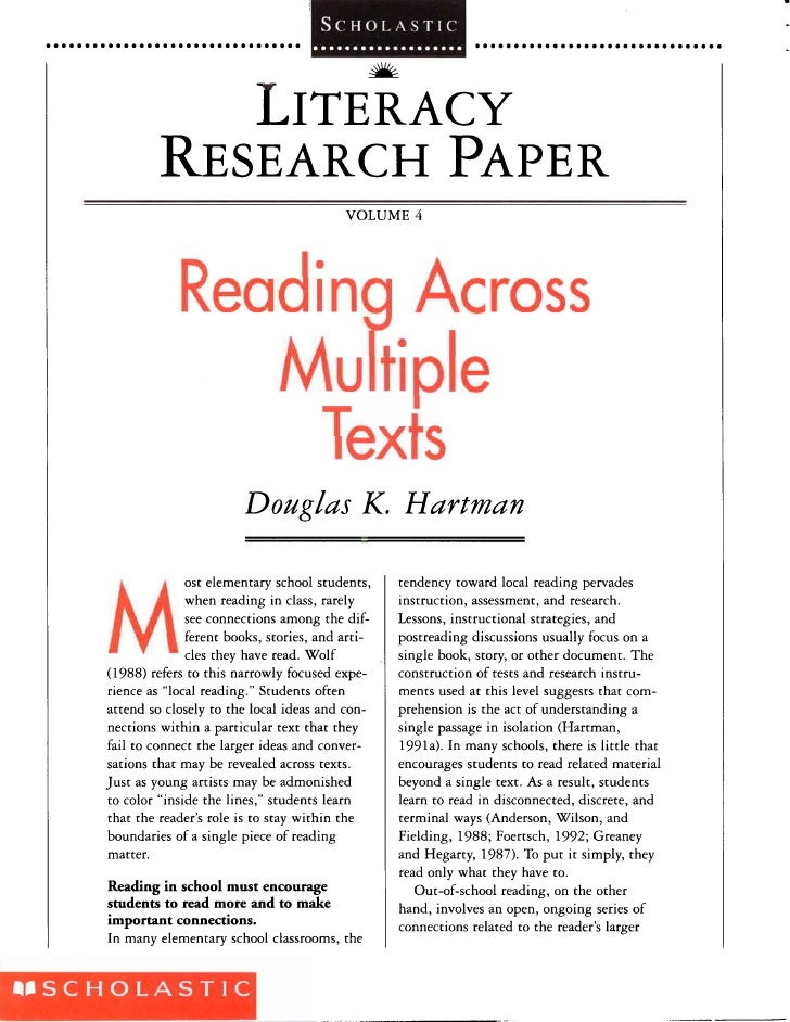 Hartman 2004 Reading Across Multiple Texts