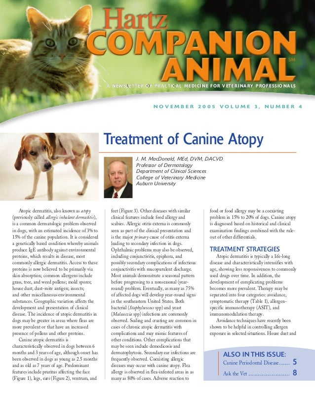 Hartz Companion Animal - Treatment of Canine Atopy