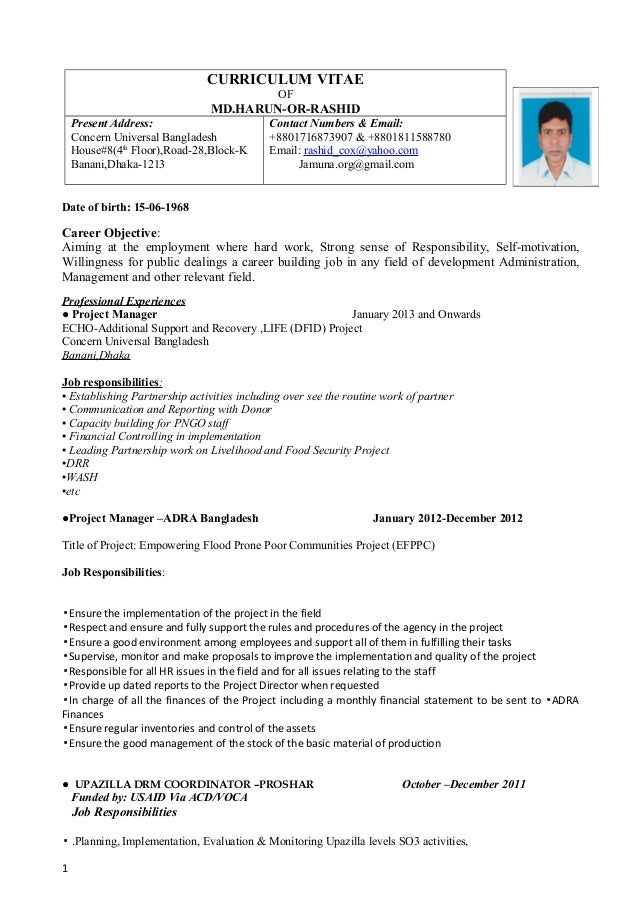 Harun Cv For A Voluntery Job