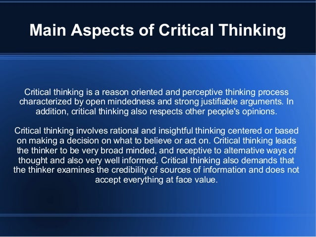Cognitive skills of critical thinking