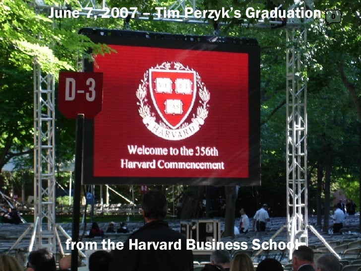 0 June 7, 2007 – Tim Perzyk's Graduation from the Harvard Business School