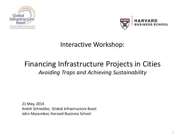 Interactive Workshop: Financing Infrastructure Projects in Cities Avoiding Traps and Achieving Sustainability 1 21 May, 20...