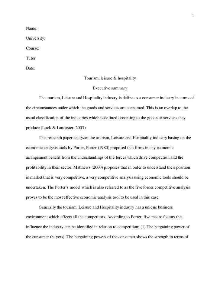 What is a great hospitality topic to use for a research paper?
