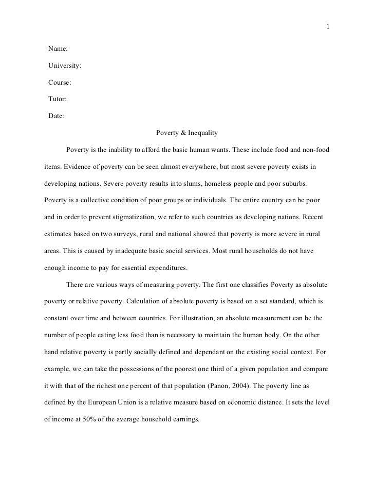 Poverty in the united states essay