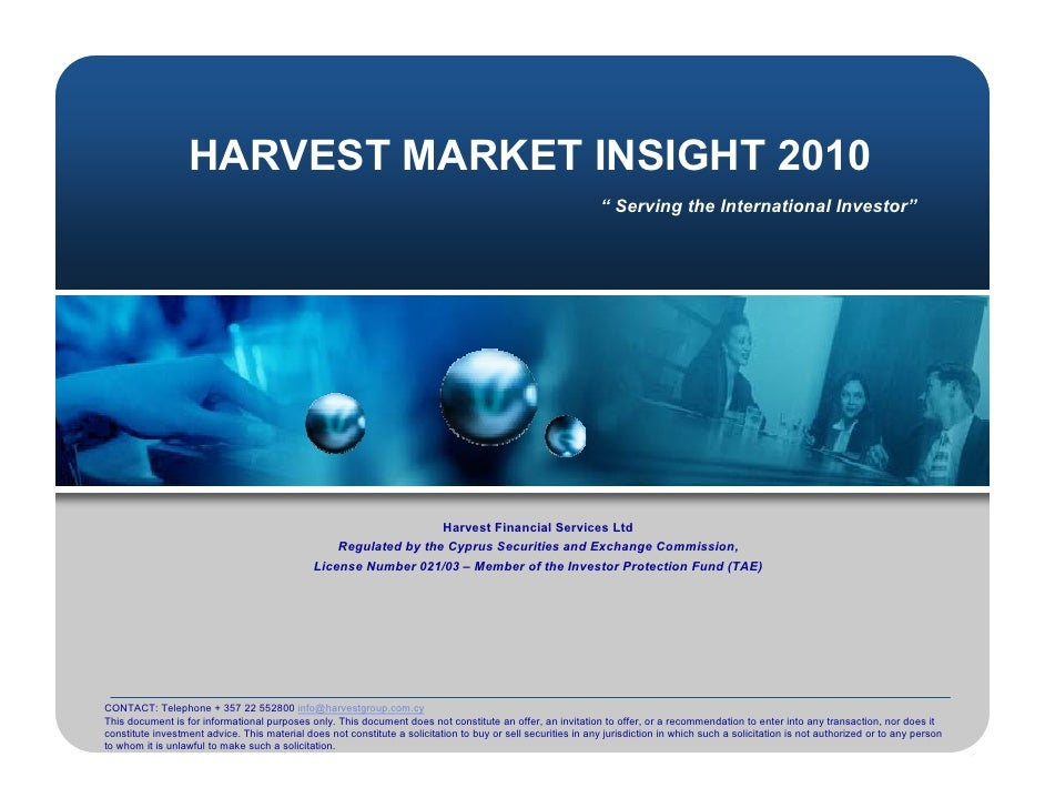 Harvest  Market  Insight  2010    Presentation