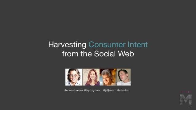 Harvesting Consumer Intent   from the Social Web    @edwardboches @lizgumginner   @jeffjaner   @aerocles
