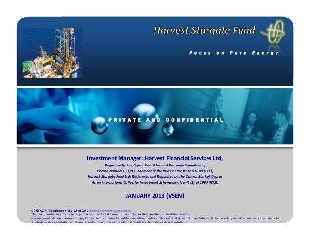 Harvest Stargate Energy Fund II Ltd version January en5 2013