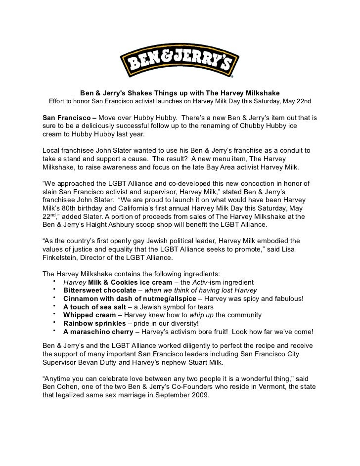Ben & Jerrys Shakes Things up with The Harvey Milkshake  Effort to honor San Francisco activist launches on Harvey Milk Da...