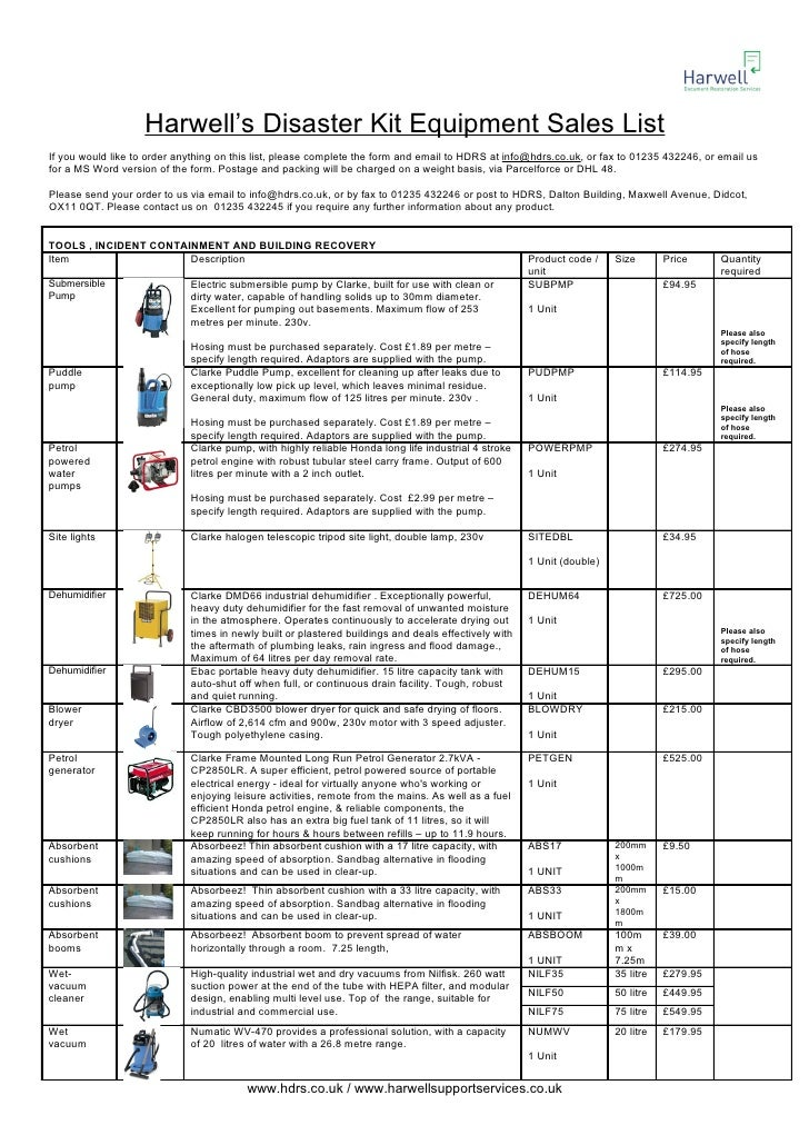 Harwell's Disaster Kit Equipment Sales List If you would like to order anything on this list, please complete the form and...