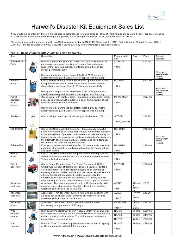 Harwell emergency equipment product list 2010