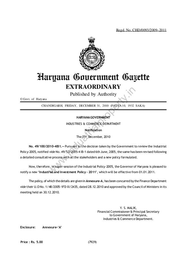 Regd. No. CHD/0093/2009–2011  Haryana Government Gazette Published by Authority  rty  © Govt. of Haryana  .in  EXTRAORDINA...