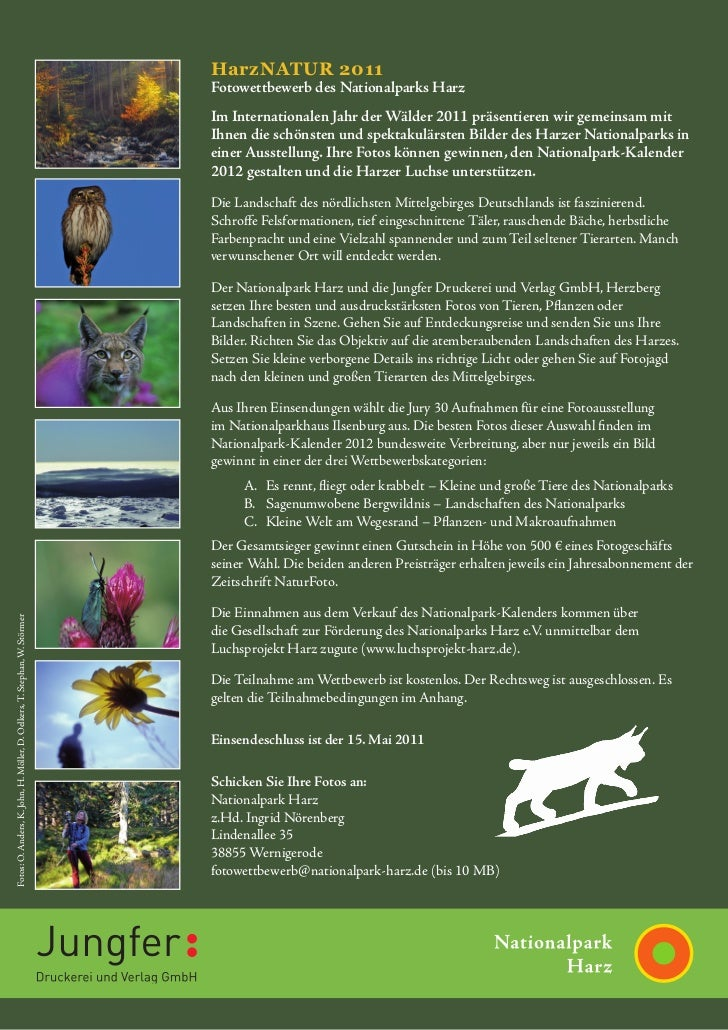HarzNATUR 2011                                                                           Fotowettbewerb des Nationalparks ...