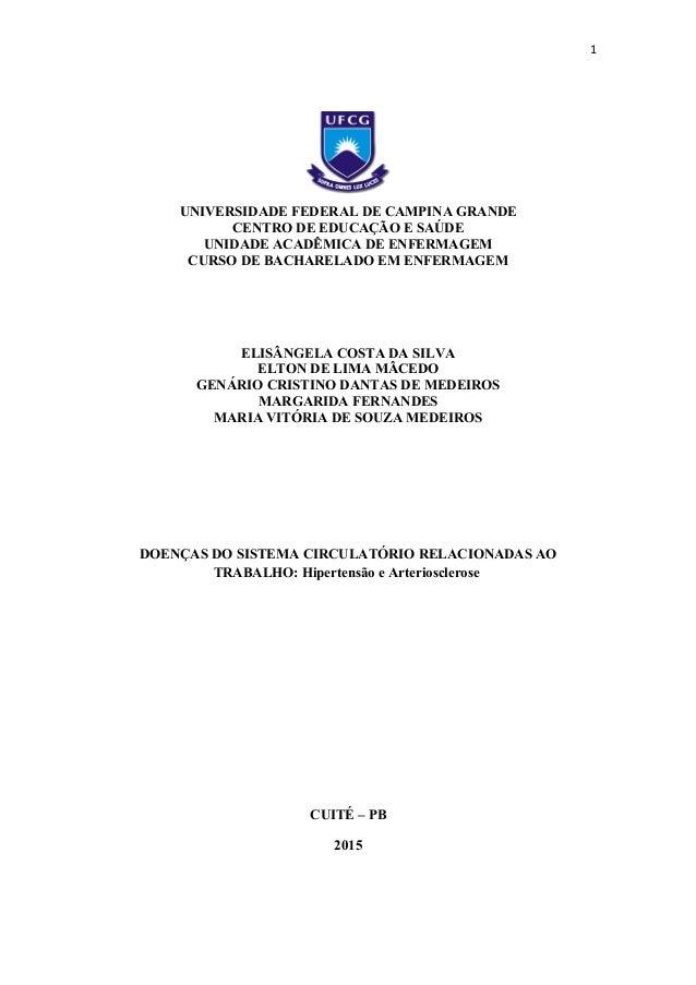 1 UNIVERSIDADE FEDERAL DE CAMPINA GRANDE CENTRO DE EDUCAÇÃO E SAÚDE UNIDADE ACADÊMICA DE ENFERMAGEM CURSO DE BACHARELADO E...