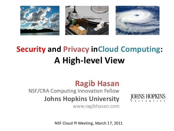 Security and Privacy in Cloud Computing - a High-level view