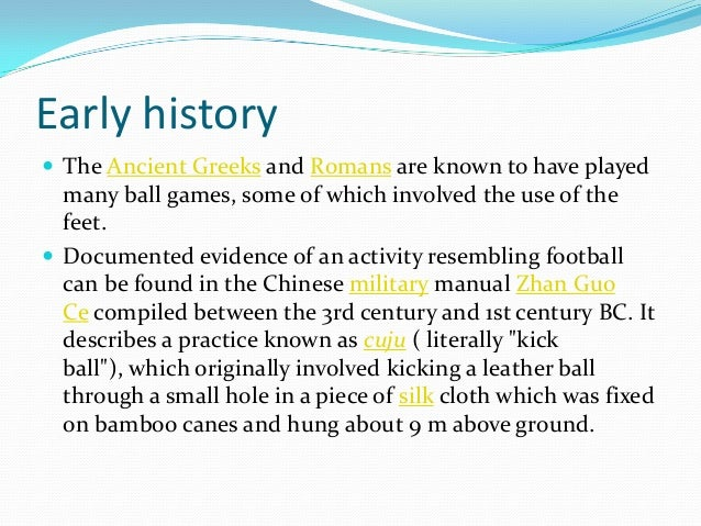 the history of football essay An essay or paper on paper on the history of football football is a team sport played mostly in the us and in canada mostly high school, college and professional.