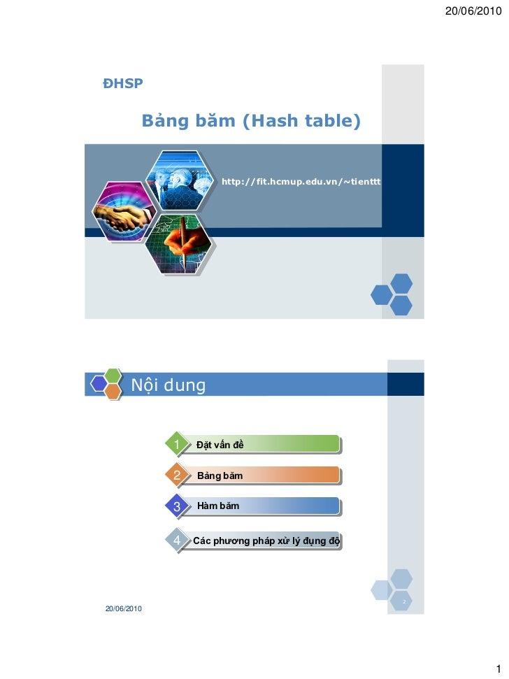 20/06/2010ĐHSP         Bảng băm (Hash table)                      http://fit.hcmup.edu.vn/~tienttt      Nội dung          ...