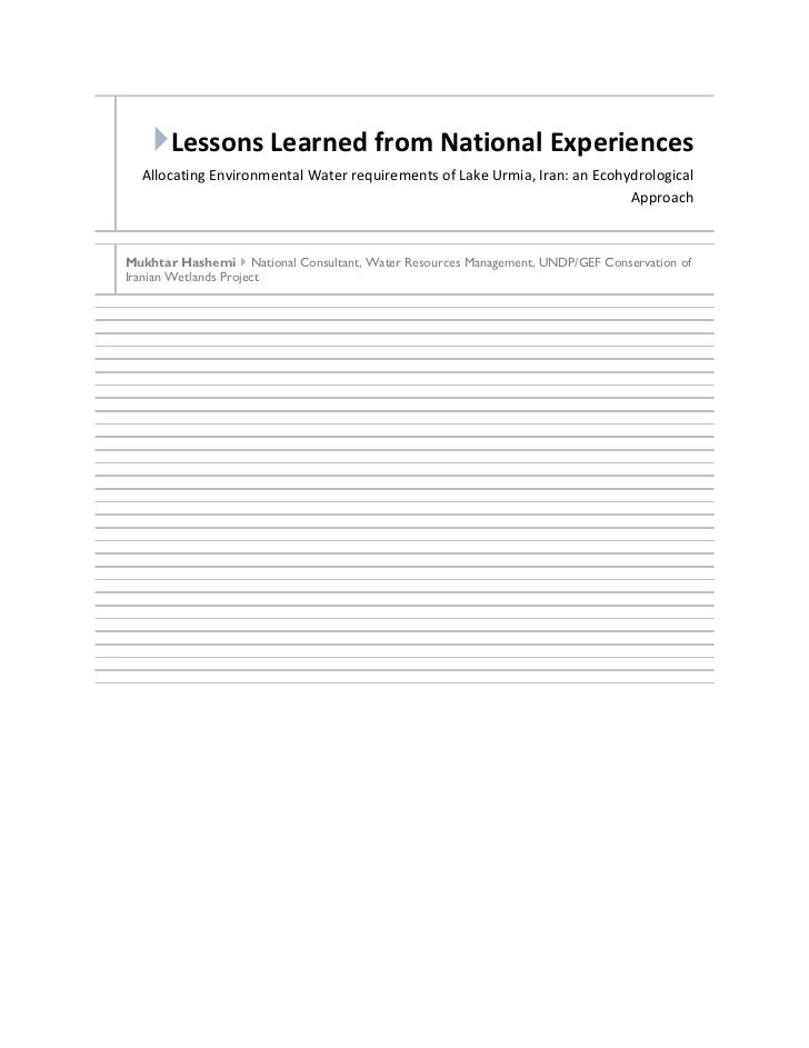 Lessons Learned from National Experiences  Allocating Environmental Water requirements of Lake Urmia, Iran: an Ecohydrolo...