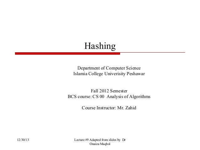 Hashing Department of Computer Science Islamia College Univerisity Peshawar  Fall 2012 Semester BCS course: CS 00 Analysis...